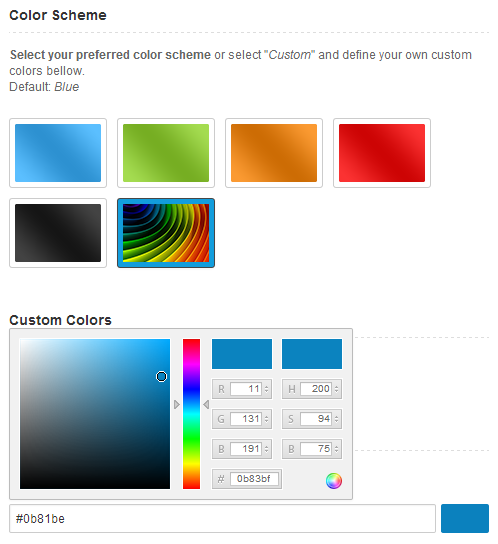 Hybrid WordPress Theme - Colors Customizer