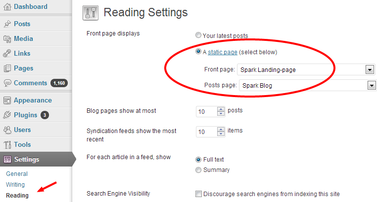WordPress Settings Reading - Setting Front-page for Landing-Page and Posts-Page for the Blog